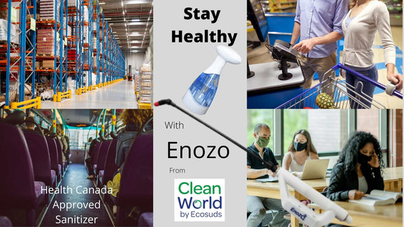 Enozo Pro and Enozo Wash Sanitizes all your surfaces with ozone water.