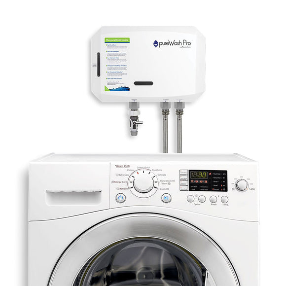Front view of the pureWash Pro X2 connected to a laundry machine.