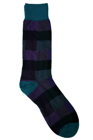 Vannucci Teal, Purple, Grey, Charcoal, and Black Check Socks