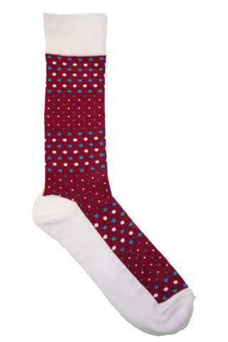 Steven Land Burgundy, Blue, and White Small and Pin Polkadot Socks
