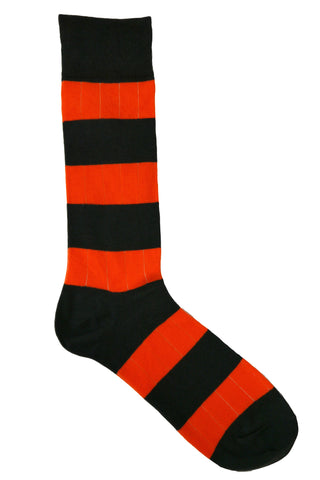 Steven Land Orange and Charcoal Striped Drop Needle Socks