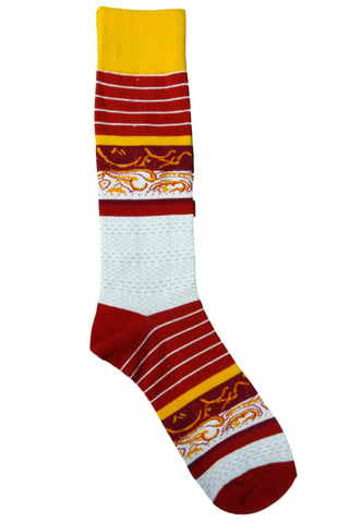 Steven Land Red, Yellow, Grey, Burgundy, and White Paisley Striped Socks