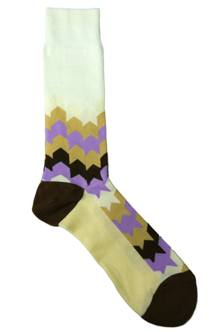 Steven Land Brown, Cream, White, Lavender, and Tan Abstract Striped Socks