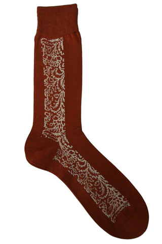 Steven Land Rust and White Floral Socks