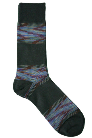 Steven Land Grey, Blue, Rust, and Pink Digital Striped Socks
