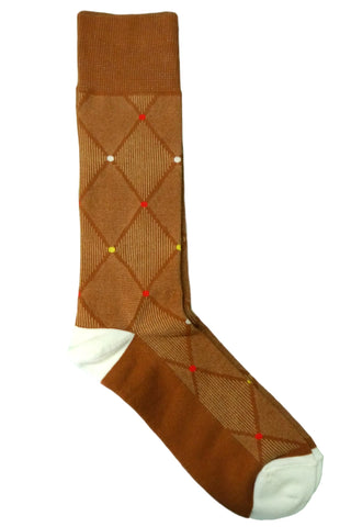 Steven Land Brown, Tan, Cream, and Red Argyle Socks