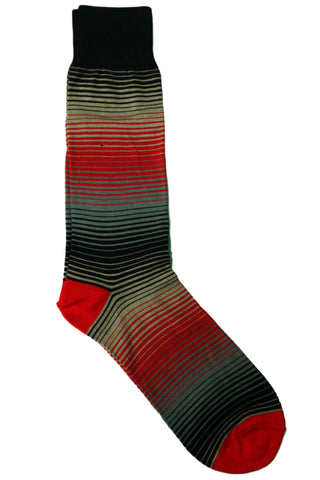 Steven Land Black, Red, Grey, and Charcoal Striped Socks