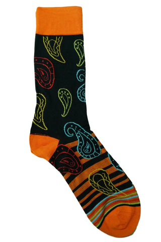 Steven Land Orange, Navy, Yellow, Red, and Teal Paisley Striped Socks