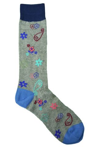 Tallia Grey, Blue, Teal, Pink, and Burgundy Floral Paisley Socks
