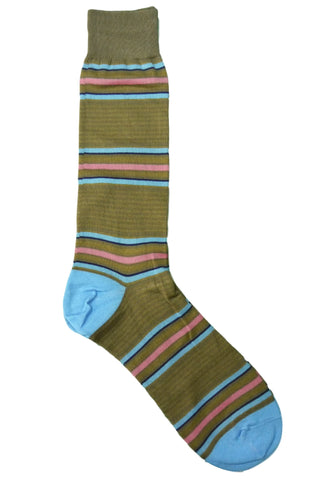 Tallia Khaki, Tan, Blue, Pink, and Navy Striped Socks