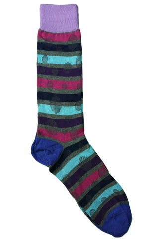 Tallia Blue, Grey, Purple, Lavender, Fuchsia, and Teal Striped Polkadot Socks
