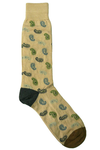 Tallia Tan, Khaki, Cream, Grey, and Green Paisley Socks