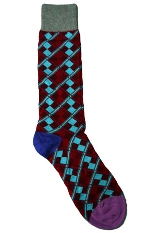 Tallia Red, Burgundy, Teal, Blue, and Grey Mini Argyle Socks