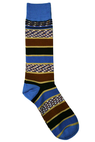 Tallia Blue, Black, Navy, Brown, Tan, and White Horizontal Striped Socks