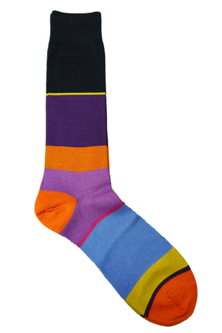 Tallia Purple, Black, Lavender, Yellow, Orange, and Light Blue Striped Socks