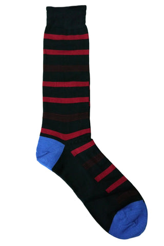 Tallia Navy, Burgundy, Red, and Blue Striped Socks