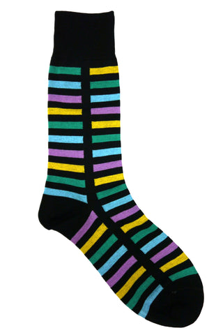 Vannucci Black, Yellow, Blue, and Teal Striped Socks