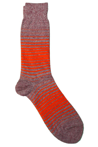 Vannucci Red, Orange, Coral, and Grey Striped Socks