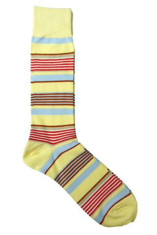Vannucci Yellow, Red, Cream, Blue, Tan, and Brown Striped Socks