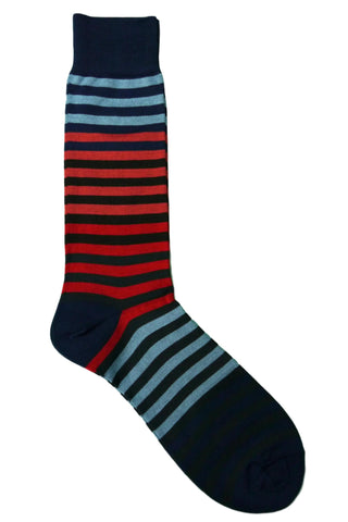 Vannucci Blue, Coral, Charcoal, and Red Striped Socks