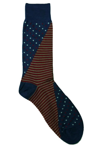 Vannucci Blue, Red, White, and Tan Striped Polkadot Socks
