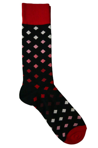 Vannucci Red, Burgundy, Pink, and Black Diamond Socks