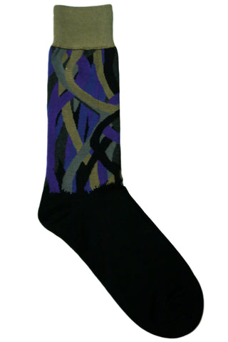 Vannucci Black, Grey, Charcoal, Blue, Tan, and Purple Abstract Striped Socks