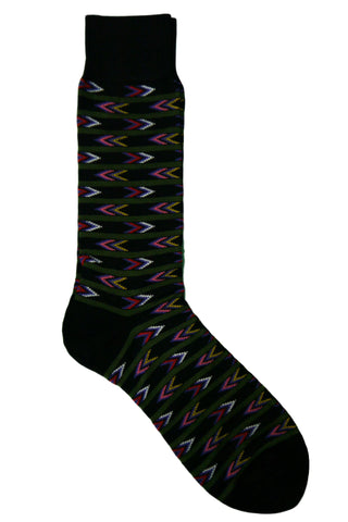 Vannucci Black, Red, Pink, Purple, Yellow, and White Arrow Striped Socks