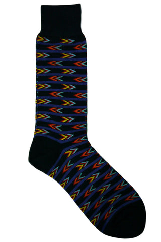 Vannucci Navy, Blue, Yellow, Red, and Coral Arrow Striped Socks