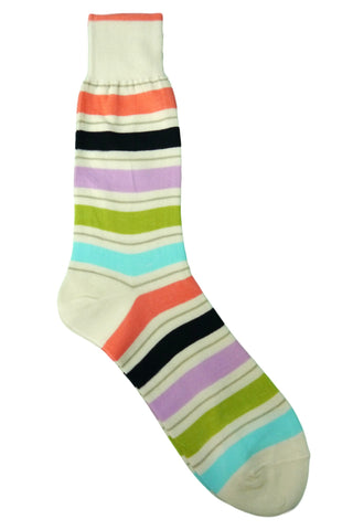Florsheim Cream, Coral, Lavender, Green, Teal, and Black Striped Socks
