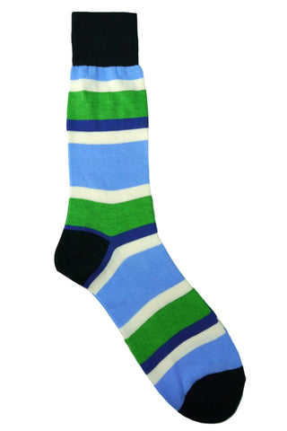 Florsheim Blue. Green, Navy, and Cream Striped Socks