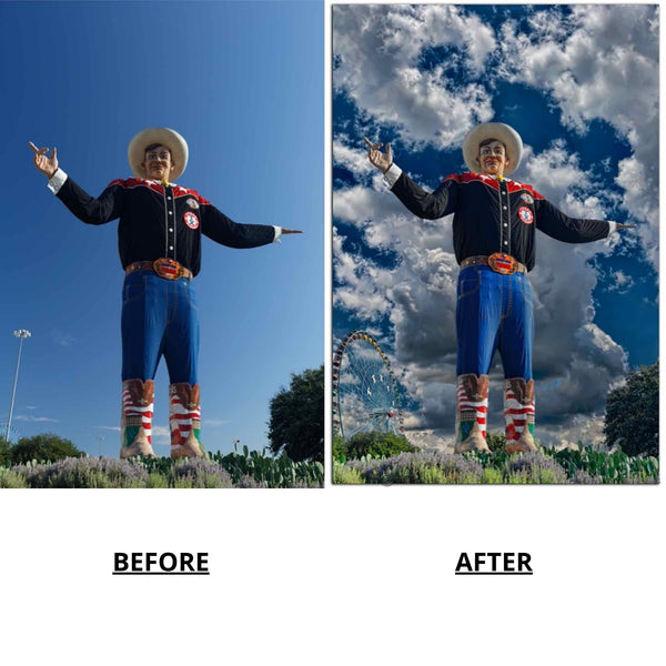 Before and After photos of Big Tex by Warren Paul Harris, pre composite editing