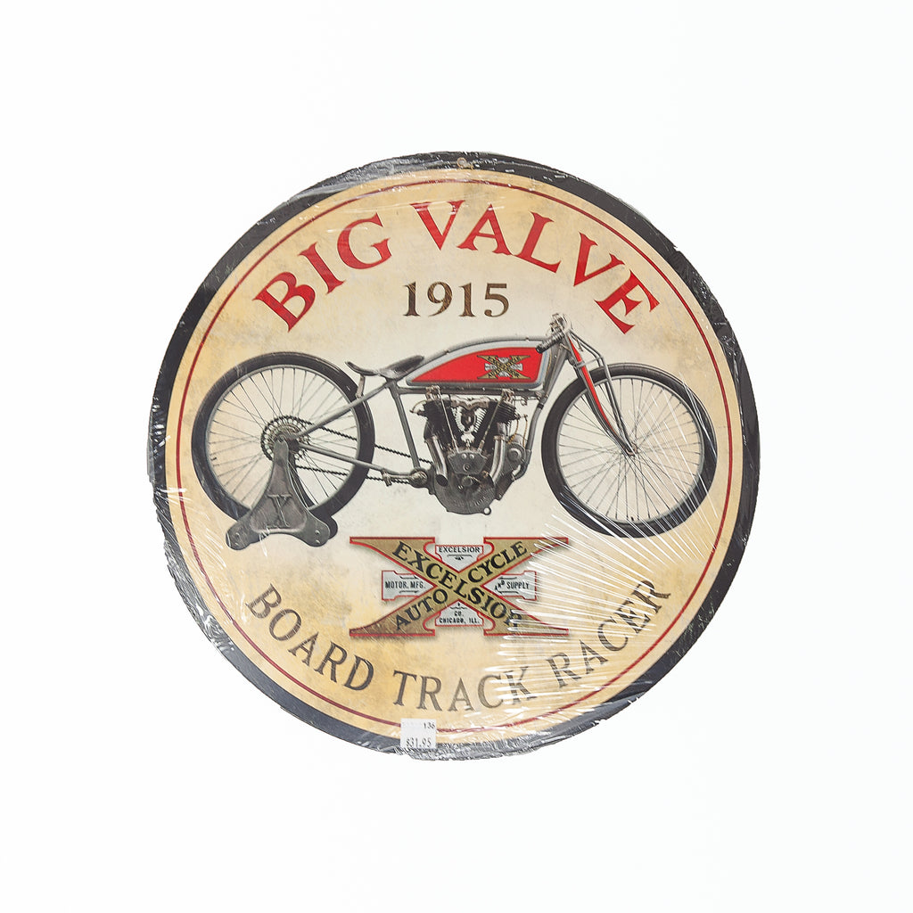 Dreamcycle Motorcycle Museum |  1915 Big Valve Board Track Racer Sign on white background.