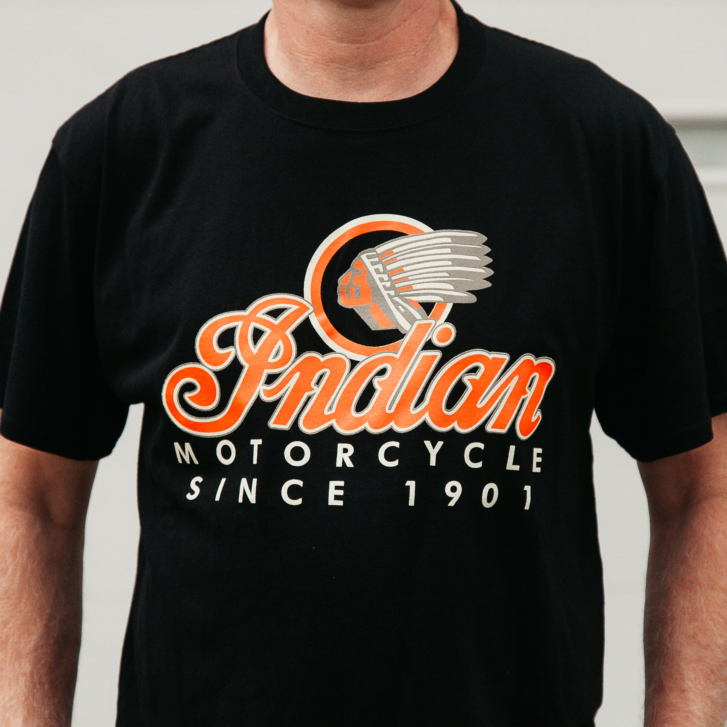 Dreamcycle Motorcycle Museum |  Closeup photo of Indian Motorcycle Tshirt in lifestyle environment.