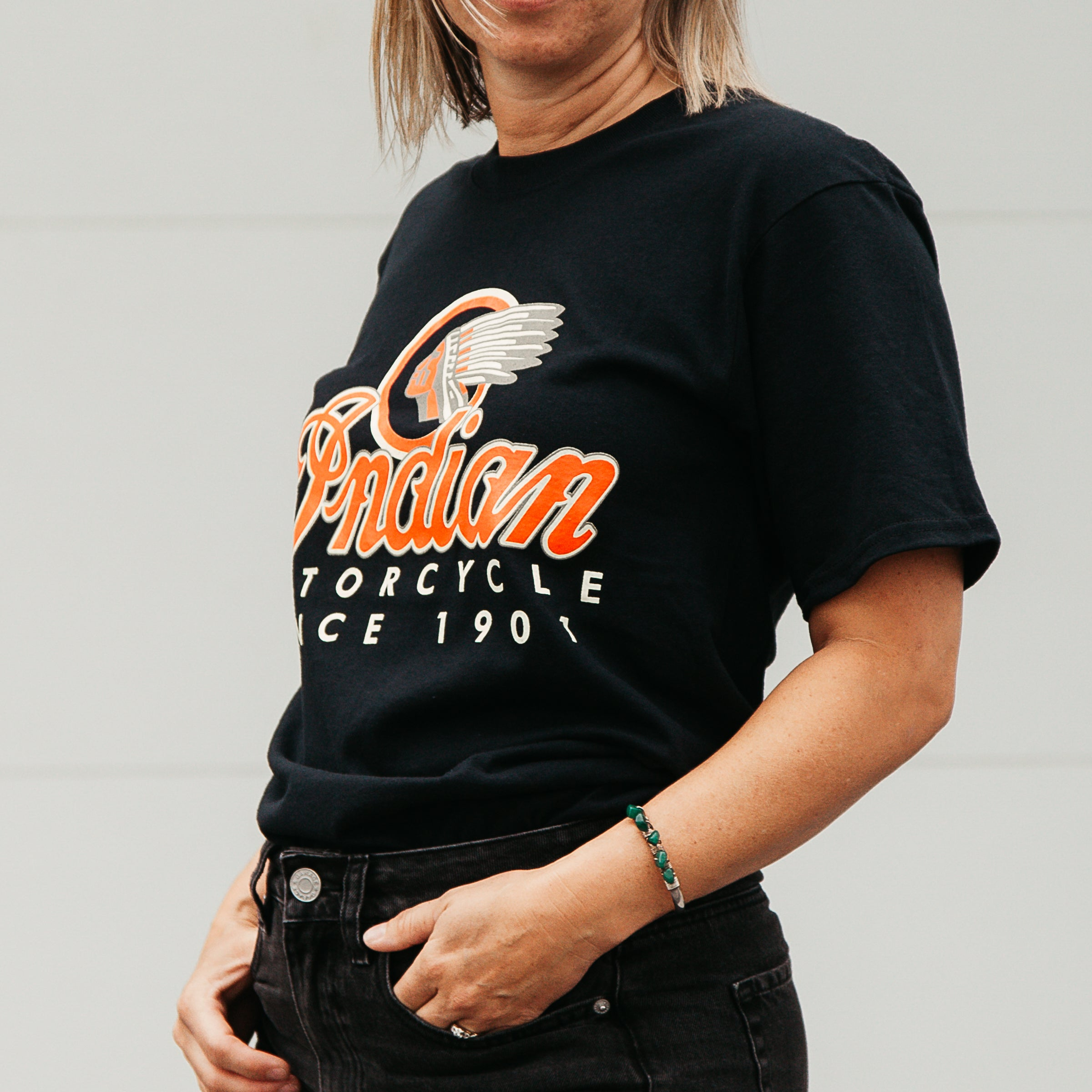 Dreamcycle Motorcycle Museum |  Indian motorcycle tshirt being modelled in lifestyle setting.