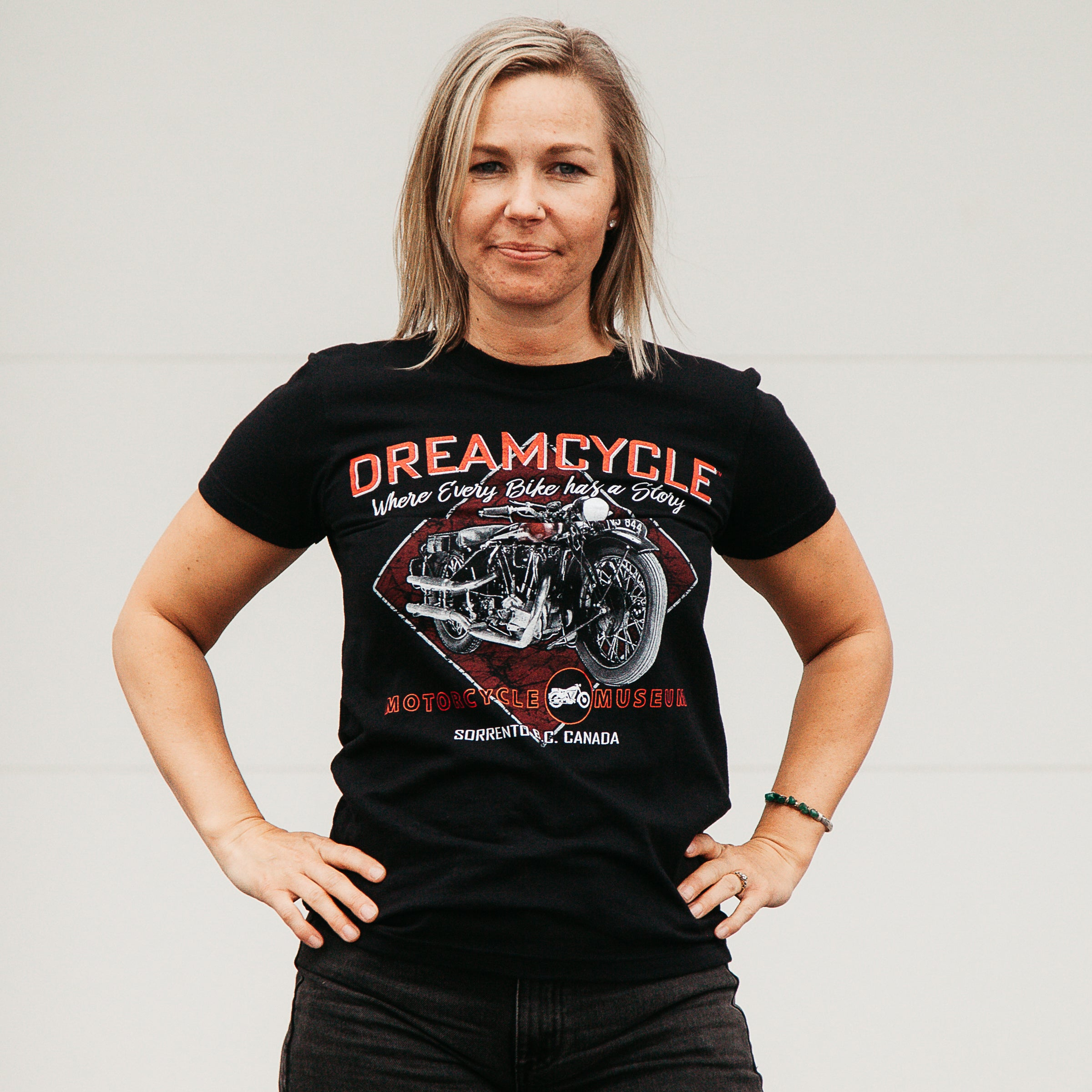 Dreamcycle Motorcycle Museum |  Dreamcycle womens tshirt modelled in lifestyle setting.