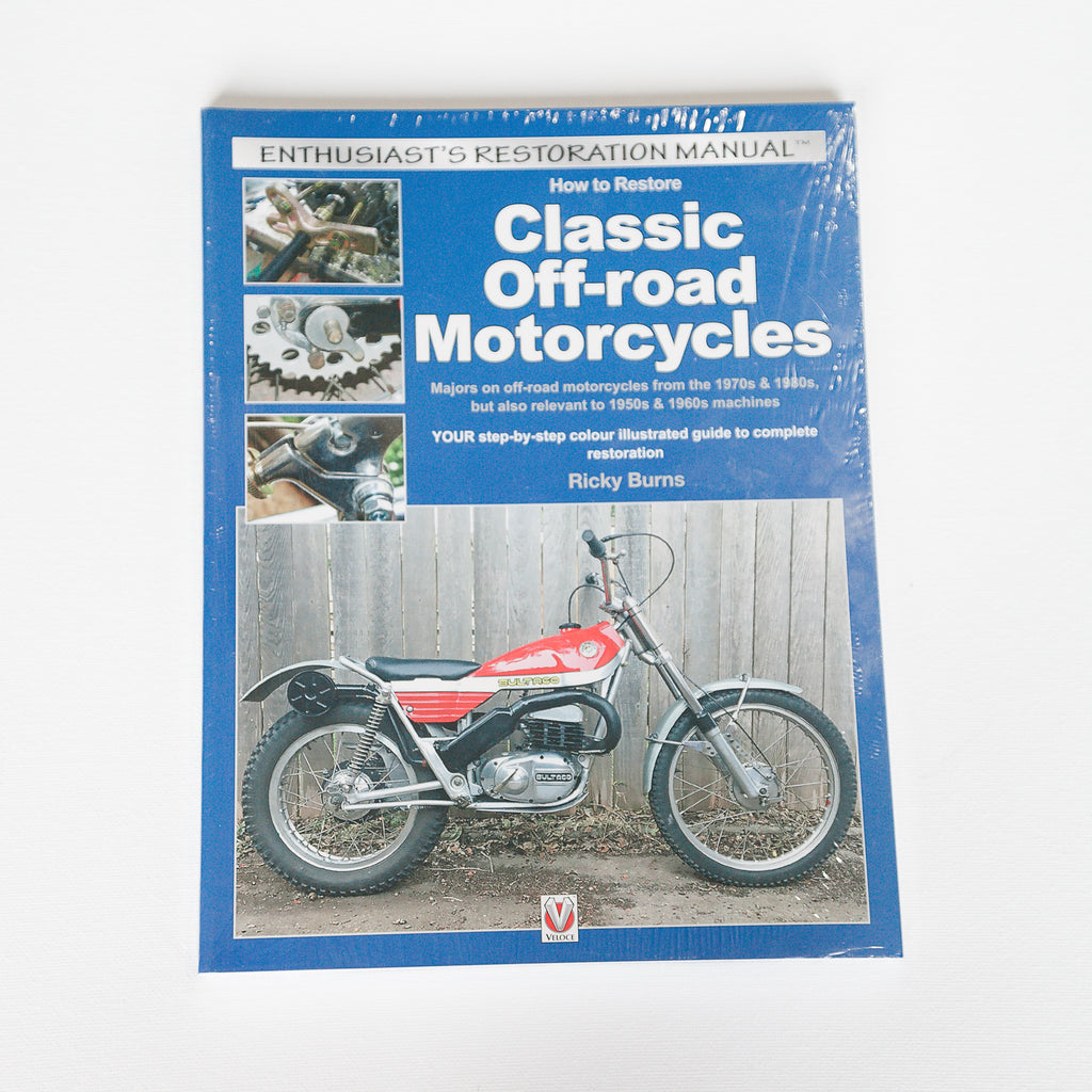 Dreamcycle Motorcycle Museum |  Classic Off-Road Motorcycle Restoration Manual on white background.