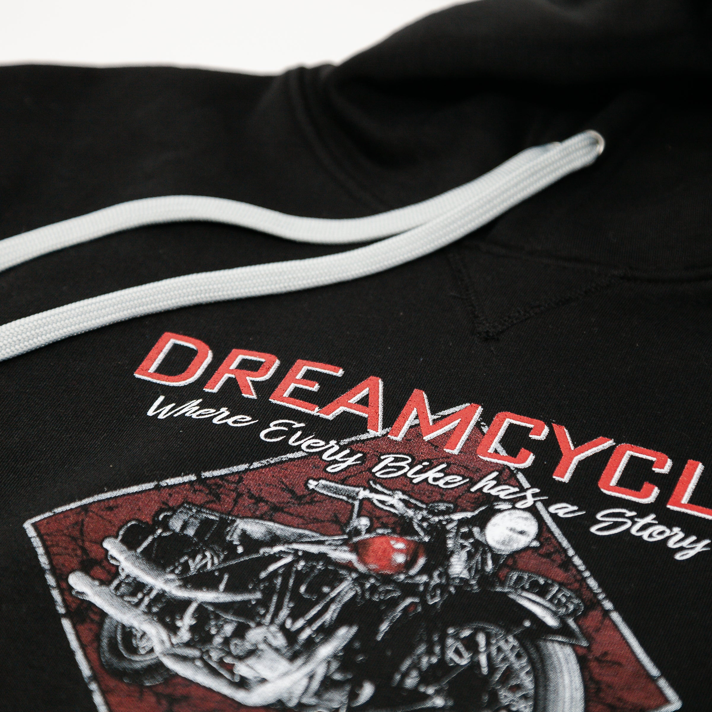 Dreamcycle Motorcycle Museum |  Dreamcycle Hoodie on white background.