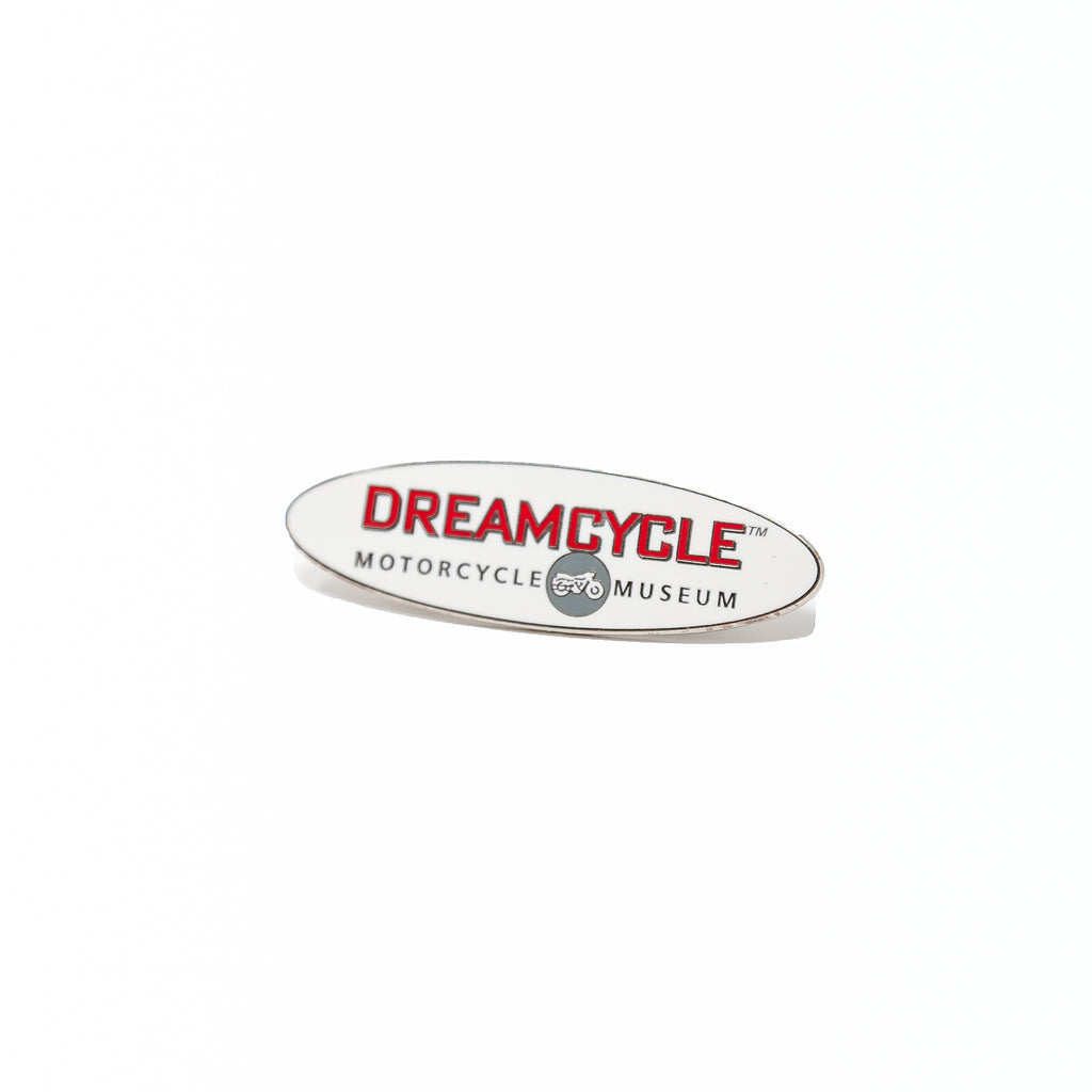 Dreamcycle Motorcycle Museum |  Dreamcycle Pin on white background.