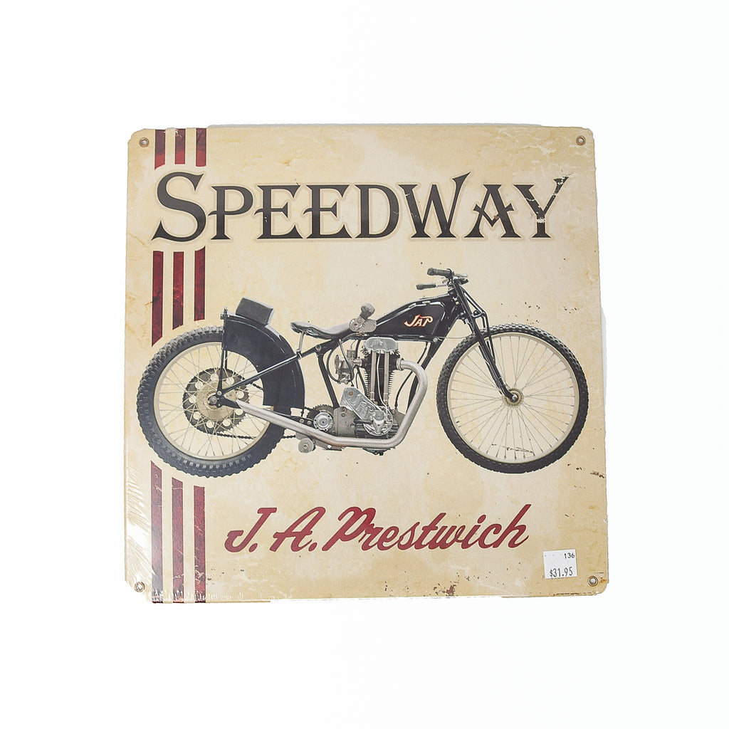 Dreamcycle Motorcycle Museum |  Speedway metal sign on white background.