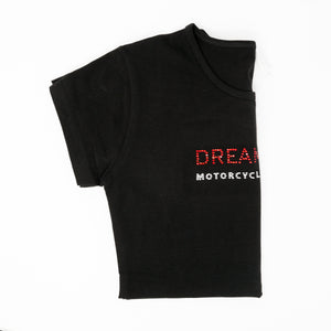 Dreamcycle Motorcycle Museum |  Side view of dreamcycle tshirt on white background.