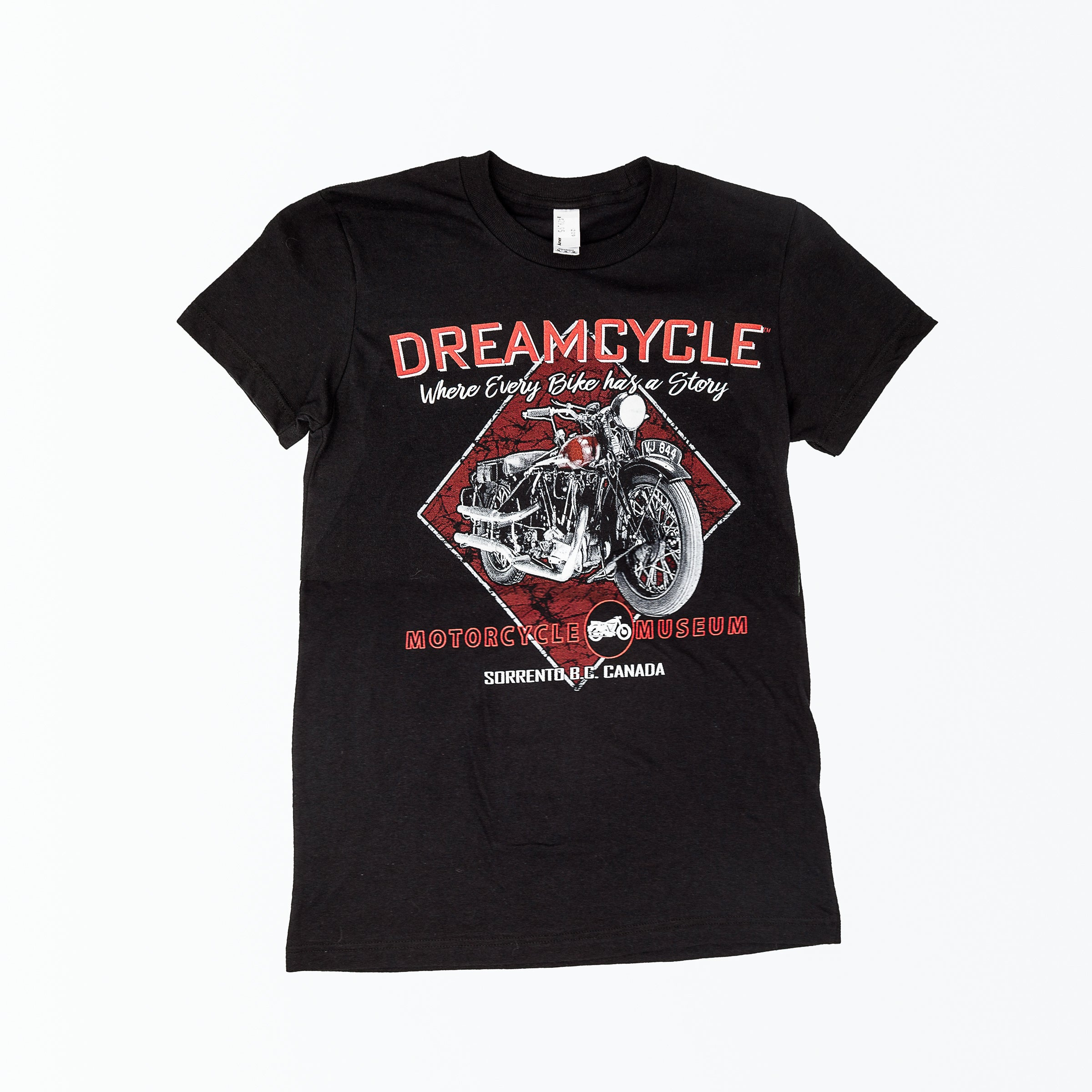 "Dreamcycle Motorcycle Museum |  ""Dreamcyce"" Tshirt on white background."