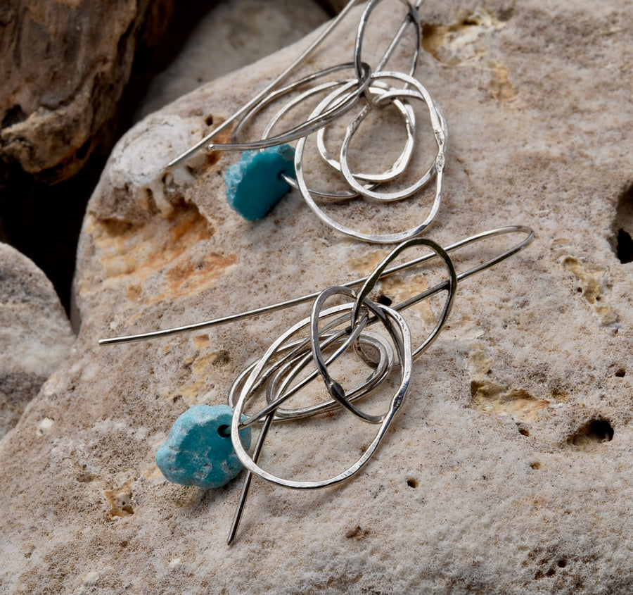 Turquoise with Sterling silver rings