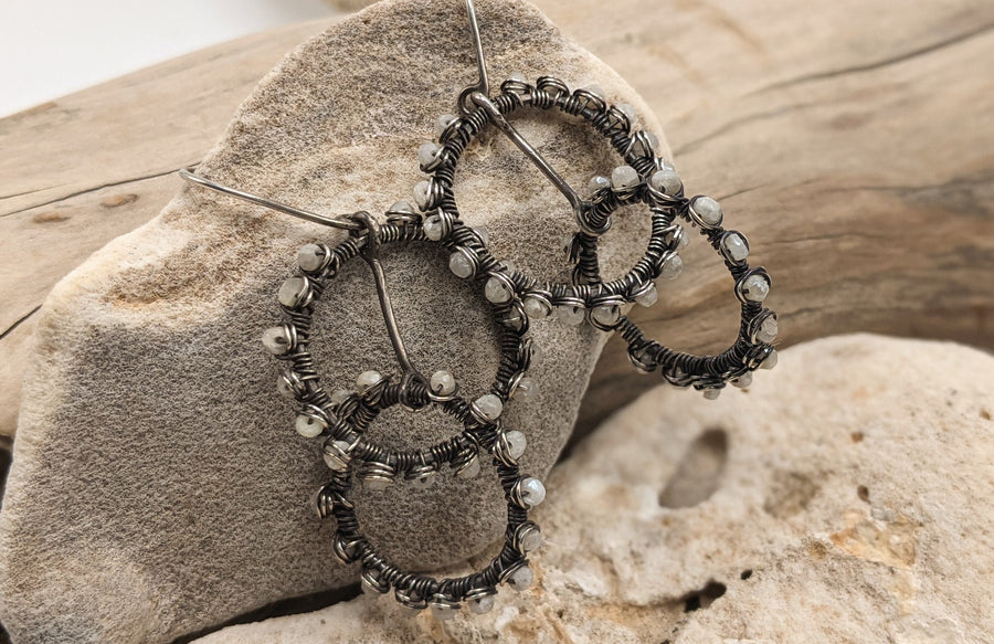 Wrapped Celestite hoop earrings