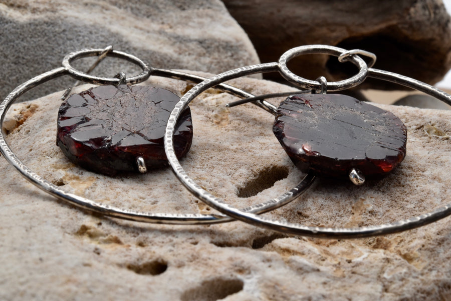 Garnet Slice Hoop Earrings