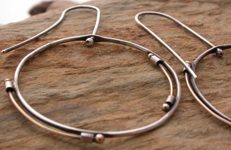 Planet Dot Jewelry Delicate Industrial Sterling Silver Earrings with 14k Gold Band