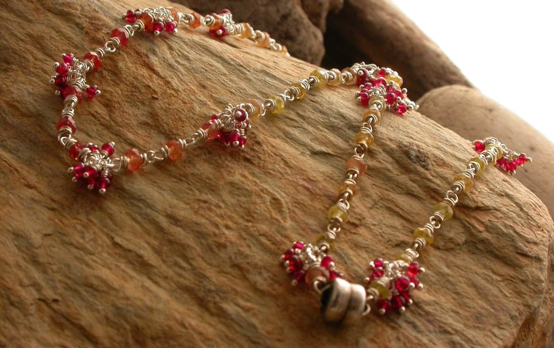 Planet Dot Jewelry Yellow Sapphire with Red Spinel Cluster Wrapped Necklace