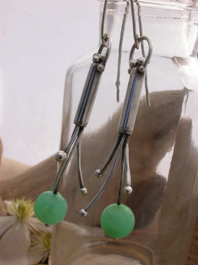 Planet Dot Jewelry Chrysoprase and Sterling Silver Tendril Earrings
