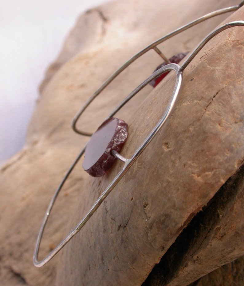 Planet Dot Jewelry Raw Garnet Slice in Hand-Fabricated Sterling Silver Earrings