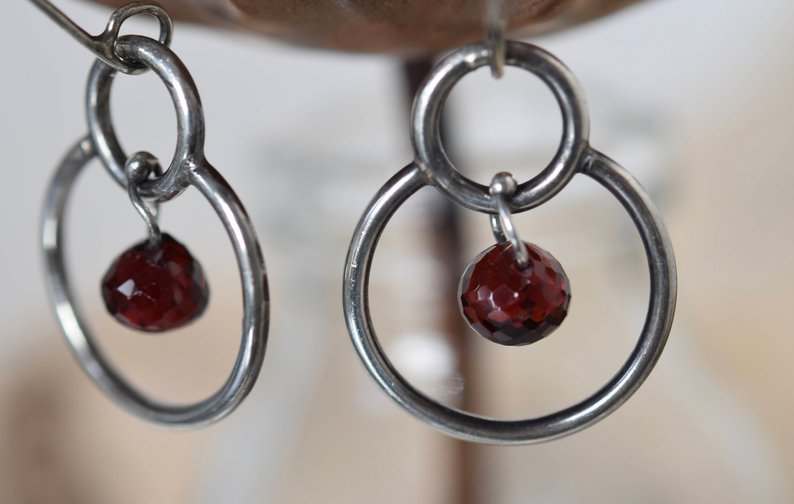 Planet Dot Jewelry Garnet Drop Hoop to Hoop Sterling Silver Earrings